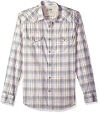 Lucky Brand Men's Casual Long Sleeve Plaid Western Button Down Shirt in Multi, Natural/Blue/Tan, L