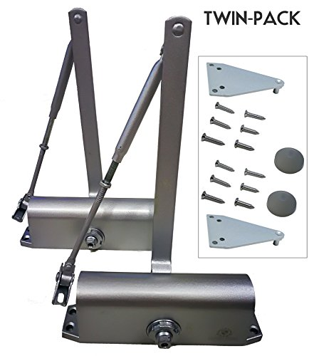 Twin Pack Commercial / Residential Grade Hydraulic Door Closers, Supports Door Up to 163lbs | Bracket and Drawing Template Included