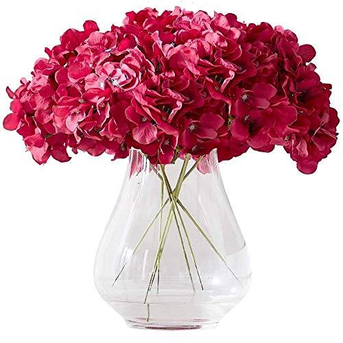 yueyue947 / Hortensia Cabezas de Flores de Seda con 10 Tallos Borgona Hortensia Artificial Cabeza de Flor para centros de Mesa de Boda Ramos DIY Decoracion Floral Decoracion del hogar Fucsia