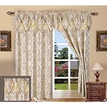 Elegant Comfort Penelopie Jacquard Look Curtain Panel Set, 54 by 84-Inch, Beige, Set of 2