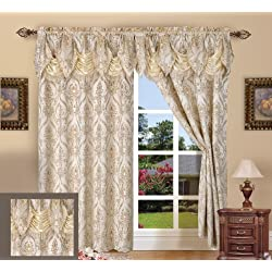 Elegant Comfort Penelopie Jacquard Look Curtain Panel Set, 54 by 84-Inch, Beige, Set of 2