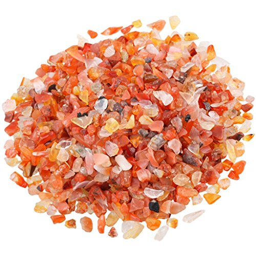 eGlomart 1 lb/Bag Carnelian Tumbled Chips, Small Stone Crushed Pieces Irregular Shaped Stones Healing Reiki Crystal-[About 460 gram] ()
