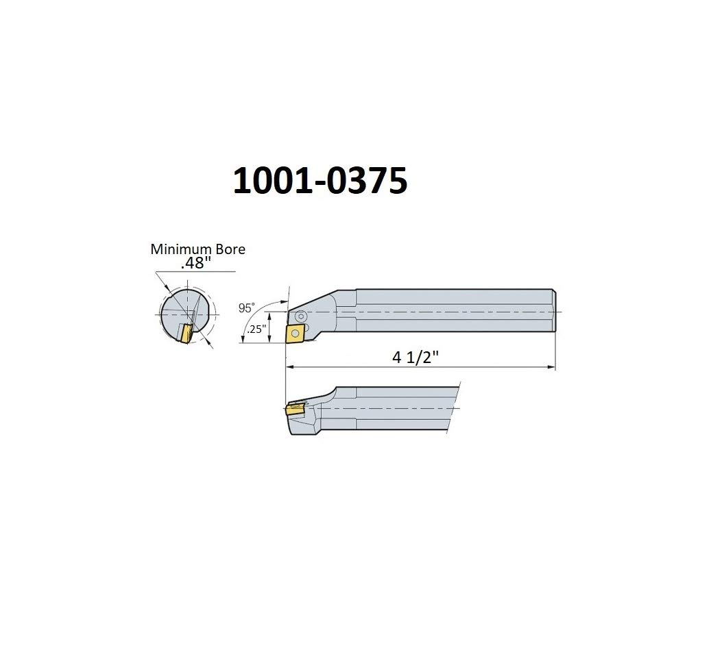 HHIP 1001-0500 1//2 Inch SCLCR2 Indexable Boring Bar with Coolant Thru