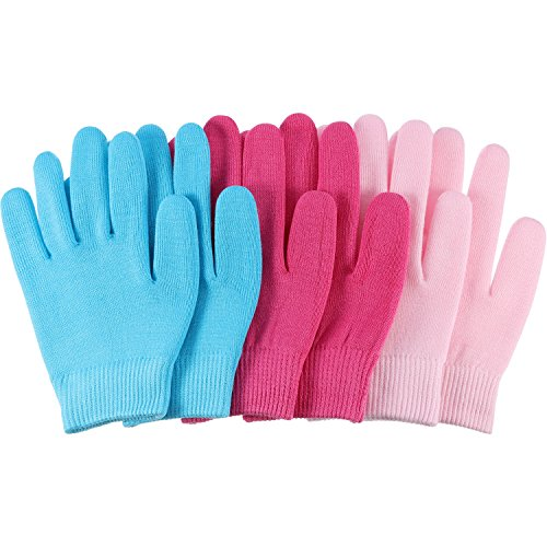Bememo 3 Pairs Gel Moisturizing Spa Gloves Hand Spa Gloves Moisture Enhancing Gloves, Pink, Blue and Rose Red by Bememo