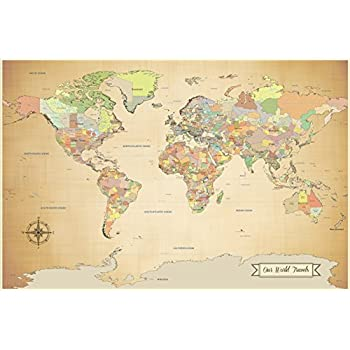 SALE! push pin world map - travel map with pins - paper anniversary - 24 x 36 inch print- Ready to ship - Gift for Travelers, holiday gift, anniversary gift idea
