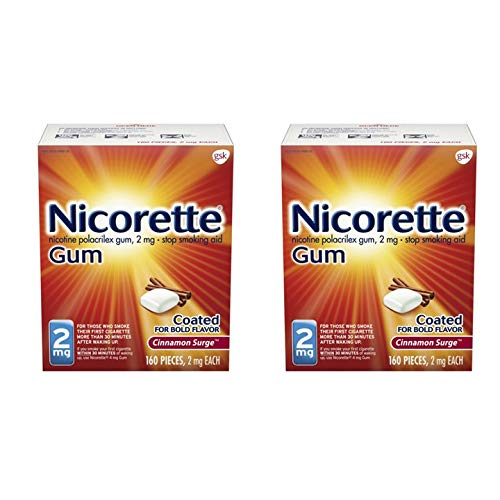 Nicorette Nicotine Gum to Stop Smoking, 2mg, Cinammon, 320 Count