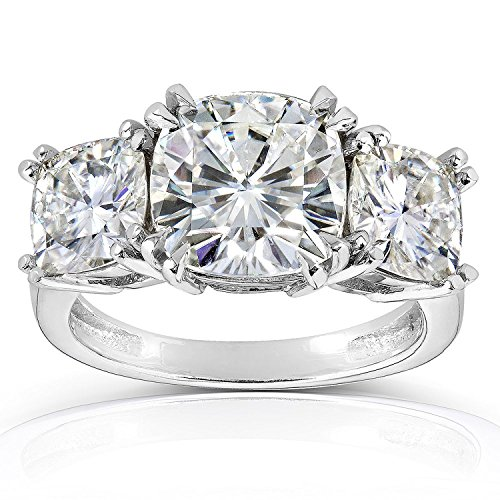 2 Carat 14K White Gold Cushion Cut 3 Three Stone Diamond Engagement Ring (J-K Color I2 Clarity)