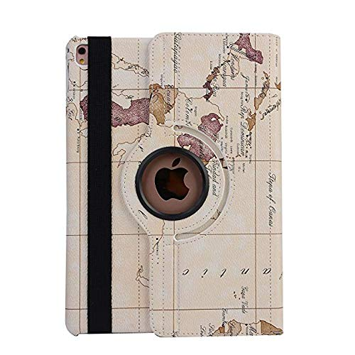 iPad Mini 4 Screen Protector,Slim Fit PU Leather Cover 360 Degree Rotating Retro Map Pattern Design Multi Viewing Angles Enjoy Full Body Protective for Mini 4(White)Boens by Boens