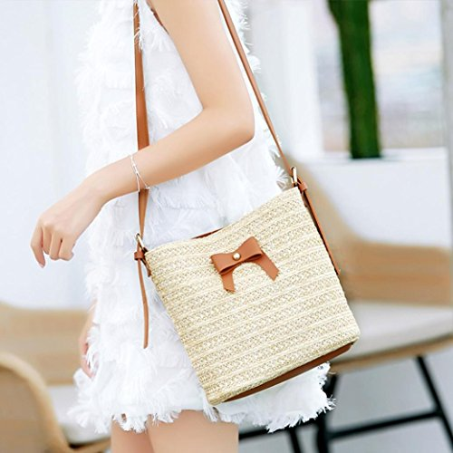 Brown Handbag Crossbody Bow Bag Women Bag Bucket Woven Bag Shoulder Bags Casual Straw ❥Tefamore PvOqtnxwx