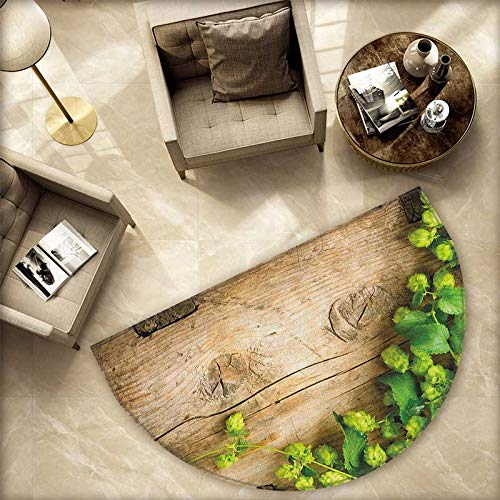 (Plant Semicircular Cushion Hop Twigs on an Old and Cracked Wooden Board Fresh Picked Whole Hops Brewing Entry Door Mat H 74.8