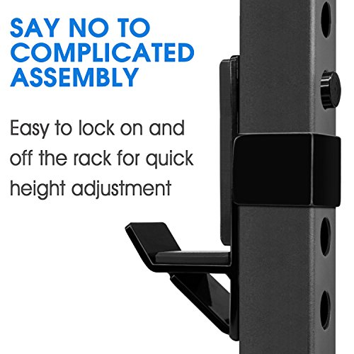 Yes4All J-Hooks Barbell Holder for Power Rack - Fit 2x2, 2x3, 3x3 Square Tube (Pair) (Black - J-Hook) by Yes4All (Image #4)