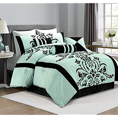 Chezmoi Collection 7 Piece Aqua With Blue And Black Floral Flocking Bed In A Bag  Comforter Set, Full/Double