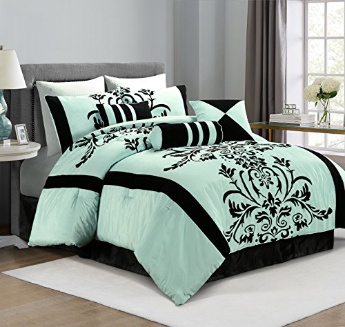 Chezmoi Collection 7-Piece Aqua with Blue and Black Floral F