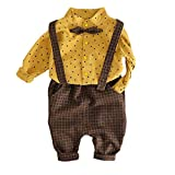 Toddler Baby Clothing Set Star Print Tie Shirt+Plaid Suspender Pants Set Outfit