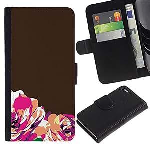 WINCASE Cuadro Funda Voltear Cuero Ranura Tarjetas TPU Carcasas Protectora Cover Case Para Apple Iphone 4 / 4S - minimalista marrón anaranjado