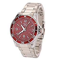 COHRO GMT SKY Men's Quartz Brass Plated and Stainless Steel Casual Watch, Color:Silver-Toned (Model: COHRX903RED)