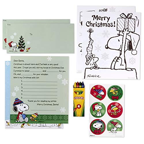 Hallmark Peanuts Letters to Santa Kit with Stickers, Coloring Pages, Envelopes, and Crayons