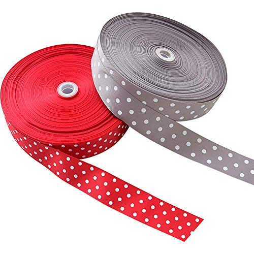 Polka Dots Silk Ribbons, Dotted Red White