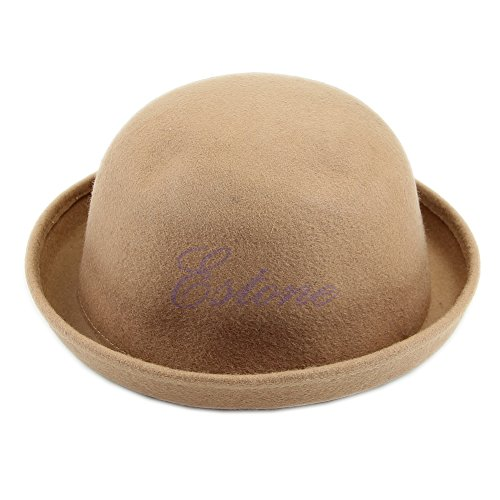 MEXUD Cute Trendy Solid Bowler Derby Hat With Vogue Ladies Women Fashion Vintage Wool For Women (Camel)