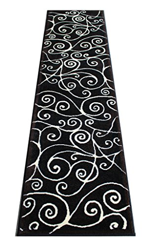 Modern Rug Runner 2 Feet X 7 Feet Black Brown Ivory G 23