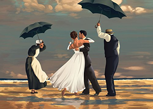 - The Singing Butler Jack Vettriano Umbrella Love Dancing Beach Rain Art Print Poster Wall Decor For Home Modern Decoration Print Decor For Living Room 27.5 x 20 Inch