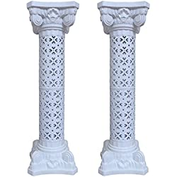 Wedding Decoration Plastic Roman Column Height Adjustable Garden Decor Ceremony Reception Decorative Columns (2 Column Set)
