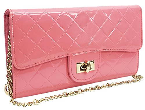 - Stony West Womens Rose Pink Chain Convertible Shoulder Strap Fashion Designer Look Satchel Quilted Purse