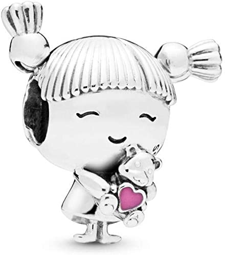 Authentic Sterling Silver Girl with Pigtails Bead Pink Enamel Heart Charms 2019