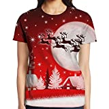 Fashion Full 3D Sublimation Womens Merry Christmas Tee White Size L