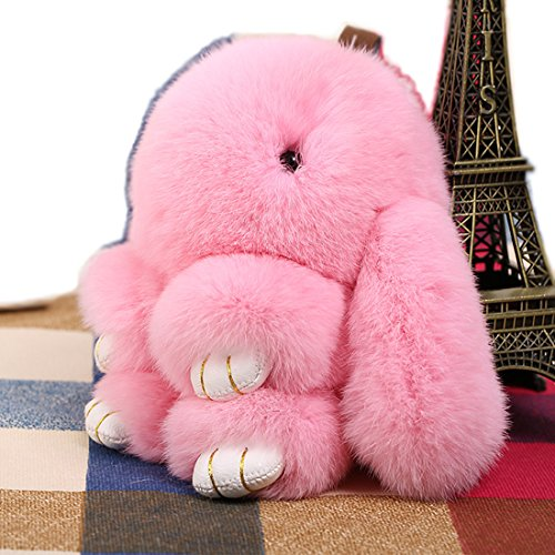 Sionview 7 Inch Fluffy Bunny Doll Keychain for Bag Charms or Car Pendant Key Chain - Bunny Charm Pink