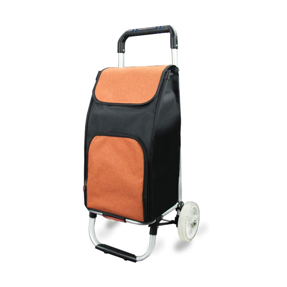 ZHAOHUI ショッピングカート 折りたたみ可能 屋外 アルミニウム合金 防水オックスフォード布 高容量 PUの水晶ホイール、 4色 (色 : Orange) B07GPR1LN5 Orange