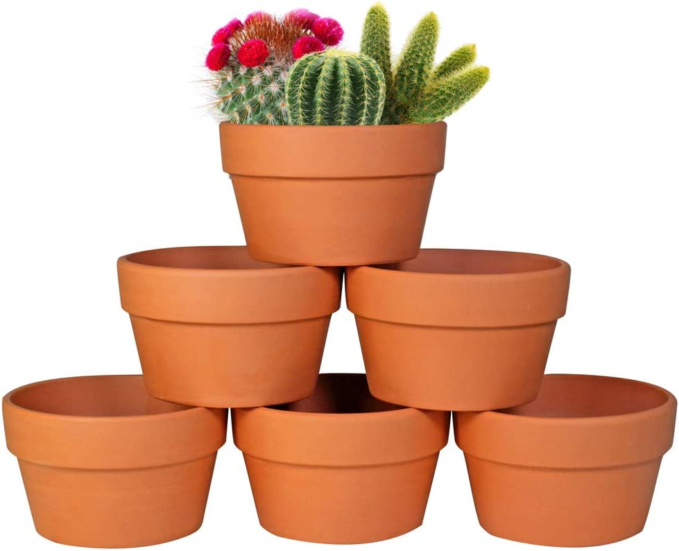6-Pack Large 6'' Terracotta Pots Clay Flower Pots Shallow Planters for Succulent Cactus Plant Pots with Drainage Hole for Plants Garden Windowsill Indoor & Outdoor Wedding Favors Gifts
