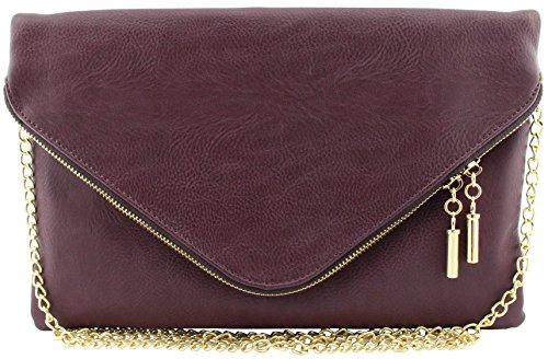 Vegan faux leather soft envelope shape clutch crossbody bag pouch (Wine) by Amy & Joey