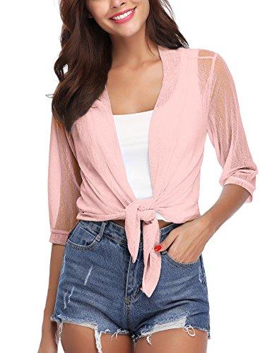 iClosam Womens Tie Front 3/4 Sleeve Sheer Shrug Cropped Bolero Cardigan (Pink, XX-Large)