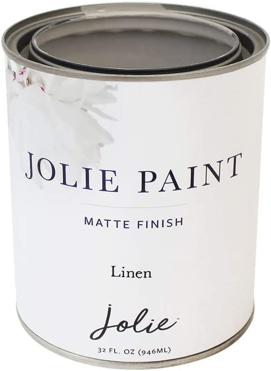 Jolie Paint - Premier Chalk Finish Paint - Matte Finish Paint for Furniture, cabinets, Floors, Walls, Home Decor and Accessories - Water-Based, Non-Toxic - Linen - 32 oz (Quart)