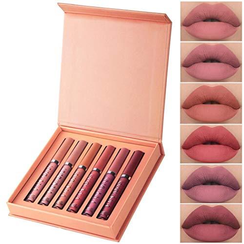 ROCONAT 6Pcs Matte Lip Gloss Set Lip Long Lasting Non-Stick Cup Women Makeup Dresses