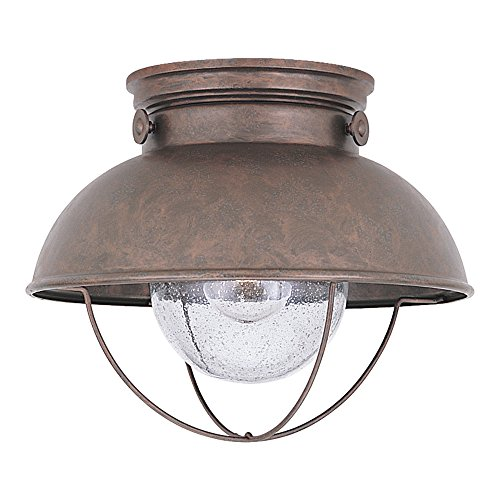 Sea Gull Lighting 8869-44 Sebring One-Light Outdoor Flush Mount Ceiling Light with Clear Seeded Glass Diffuser, Weathered Copper Finish