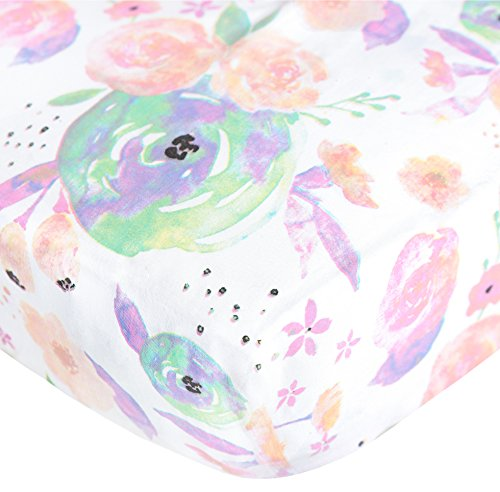 Premium Fitted Cotton Crib Sheet / Toddler Sheet ''Bloom Floral'' by Copper Pearl by Copper Pearl