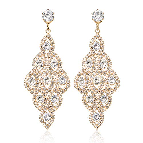IDesign Wedding Bridal Earrings Large Long Earrings Cubic Zirconia CZ Glamorous Style Dangle Chandeliers Earrings Rhinestone Dangle Earrings for Wedding Prom Anniversary (Gold)