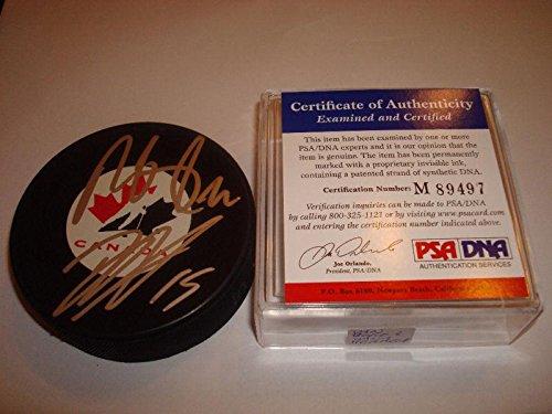 Dany Heatley Autographed Puck - Dan Boyle & Canada - PSA/DNA Certified - Autographed NHL Pucks