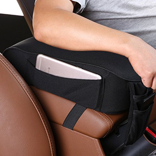 MLOVESIE Auto Center Console Armrest Pillow, Memory Foam Car Armrest Cushion with Phone Holder Storage Bag Universal Fit for Most Car (Black) ()
