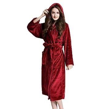 Bata De Baño De Damas para Mujer Bata De Invierno Cálida con Capucha Bata De Baño con Cinturón Camisón Ropa De Dormir Bata De Casa 3 Colores,Red-M: ...