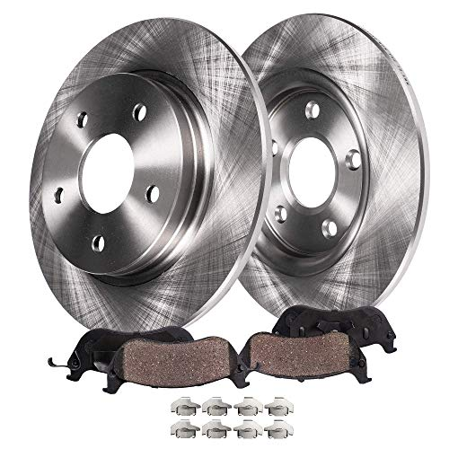 (Detroit Axle - Rear Brake Rotors & Brake Pads w/Clips Hardware Kit for 97-01 Integra Type R - [02-06 Acura RSX] - 98-02 Accord V6 - [2004-2005 Honda Civic Si])