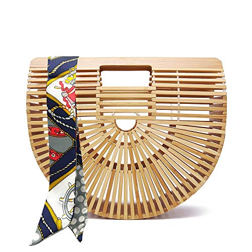 Bamboo Bag for Women Handmade Tote Bag Summer Beach Straw Bamboo Handbag with Scarf (Small, Bamboo) (Best Small Purses 2019)