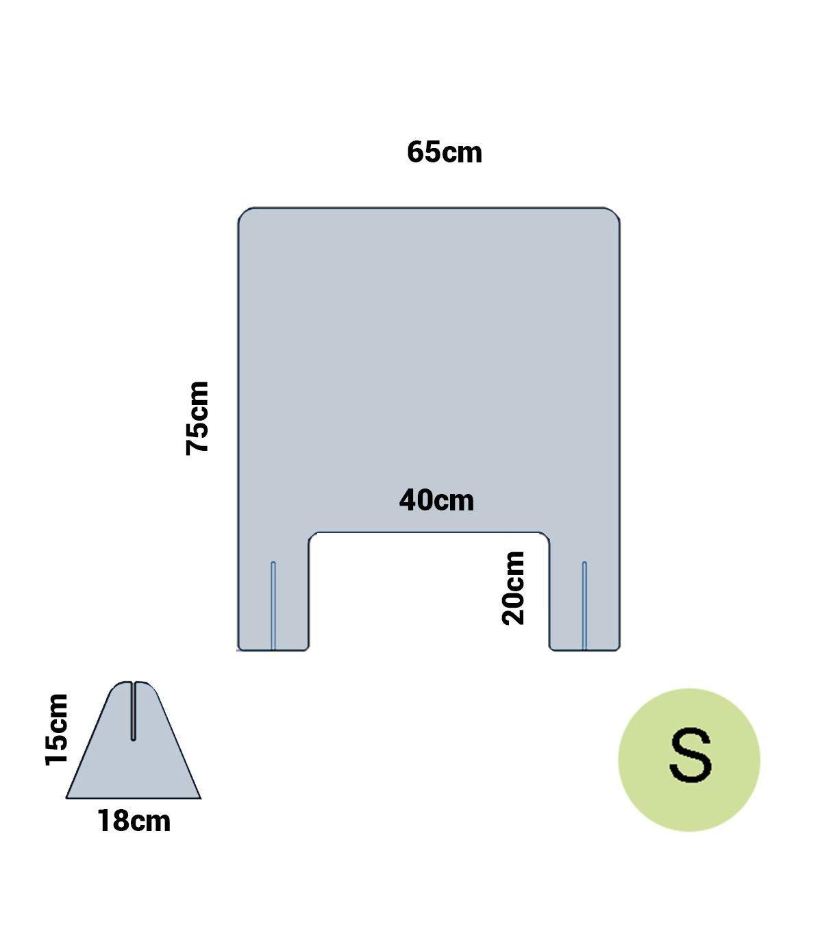 Mampara anticontagio de metracrilato a medida 65 cm ancho, ventanilla 15x30