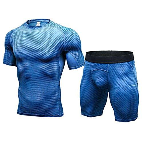 Sport Courir T shirt Costume À Ensemble Compression Hommes Bleu Serré Rapide Sanang Fitness Legging Sportswear Séchage Survêtement Gym Z8xwPv
