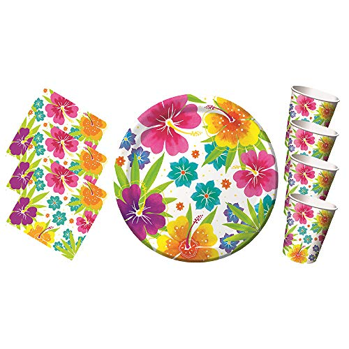 Another Dream Tropical Luau Hawaiian Party Pack for 50 Guests Includes Plates, Napkins, and Cups!