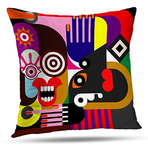 Kutita Abstract Art Decorative Pillow Covers, Blue Abstract Portrait Two Women Color Woman Art Face Visual Throw Pillow Decor Bedroom Livingroom Sofa 18X18 inch