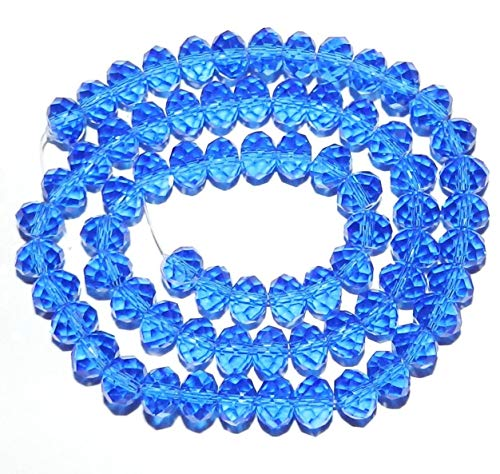- Bead Jewelry Making Dark Sapphire Blue 8mm Rondelle Faceted Cut Crystal Glass Bead 16