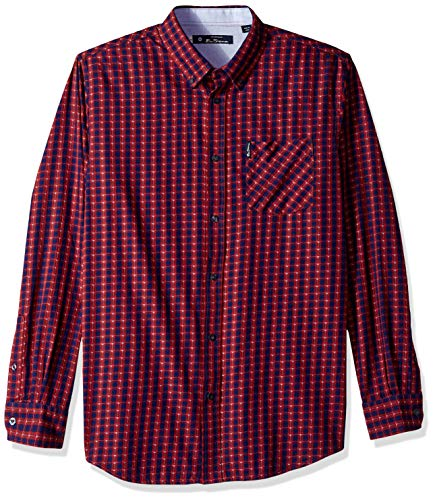 Ben Sherman Men's Square Dobby Check Shirt, Ruby, Medium